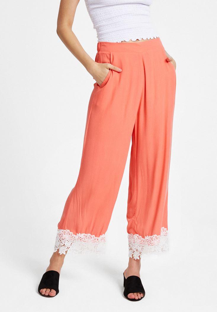 Kırmızı Yüksek Bel Dantel Detaylı Bol Pantolon