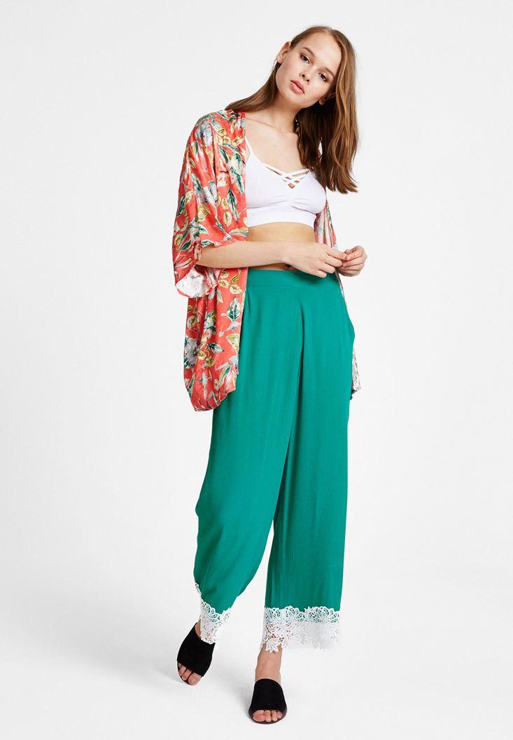 Yeşil Yüksek Bel Dantel Detaylı Bol Pantolon