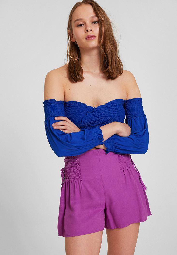 Lacivert Düşük Omuz Crop Bluz