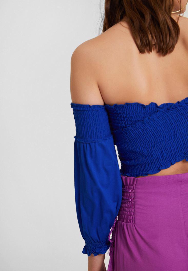 Bayan Lacivert Düşük Omuz Crop Bluz