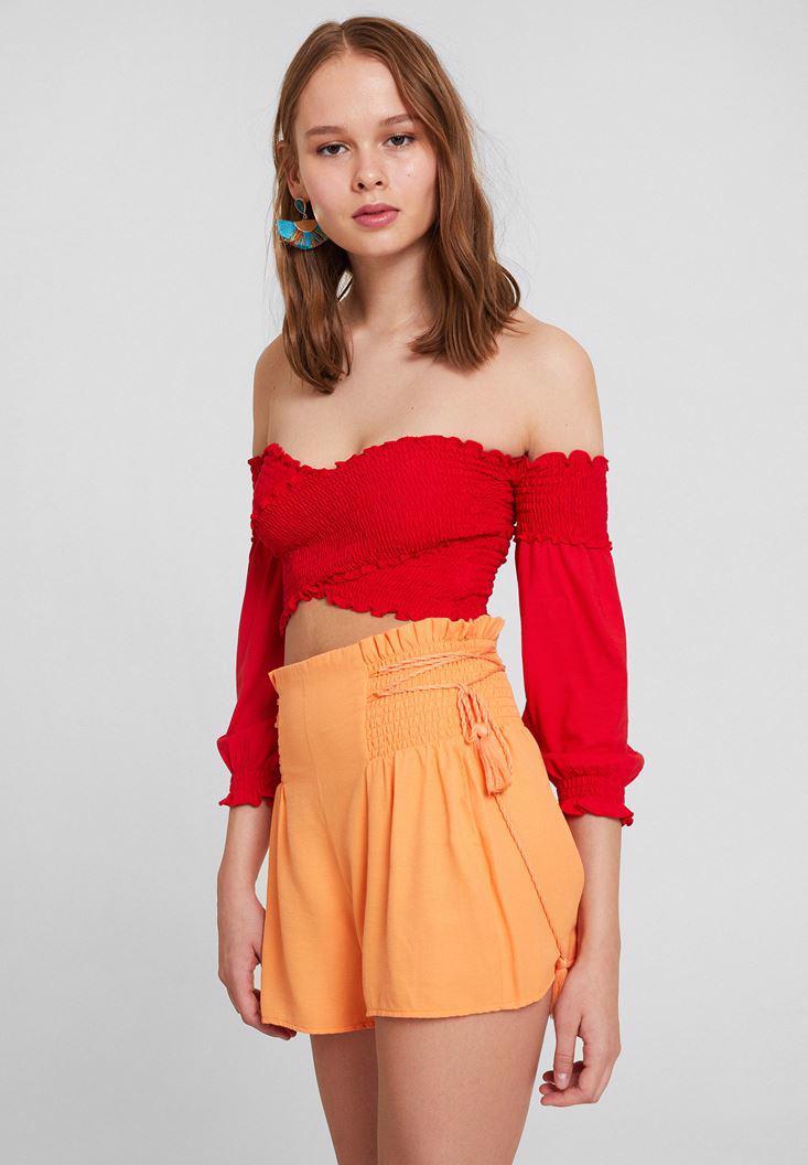 Bayan Kırmızı Düşük Omuz Crop Bluz