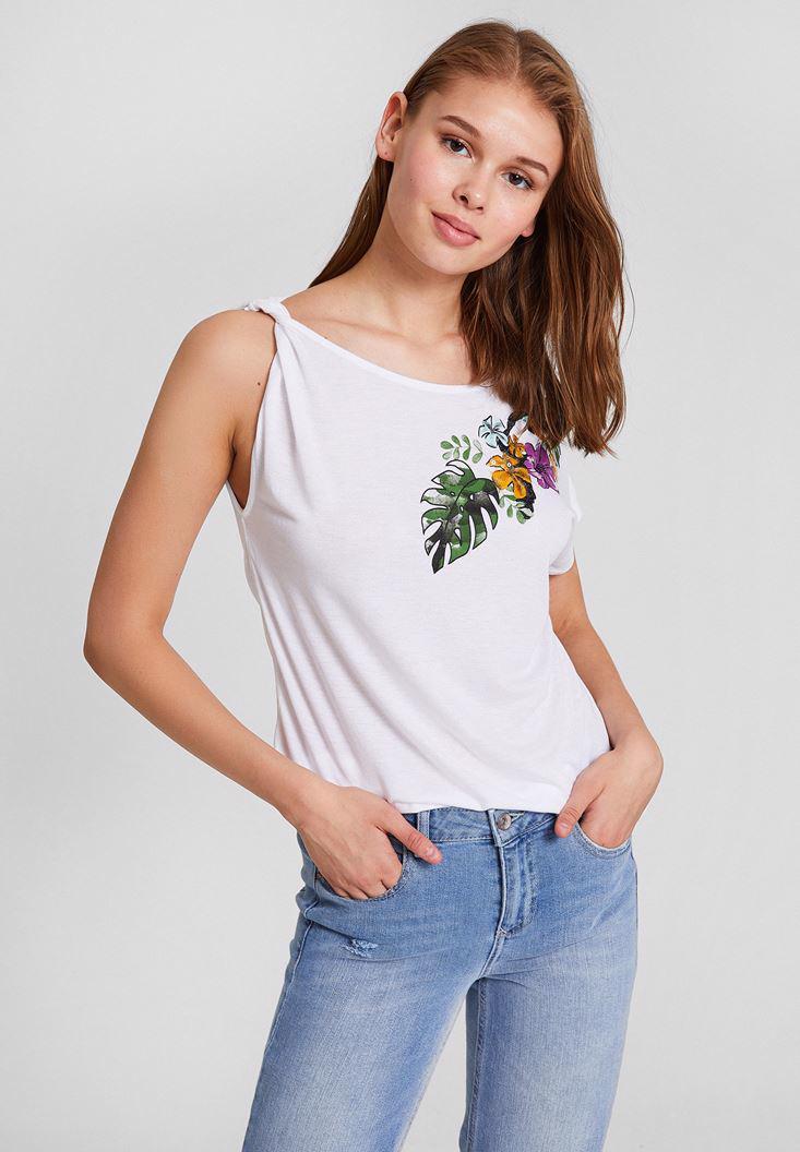 Bayan Beyaz Çiçek Baskı Detaylı Askılı Bluz