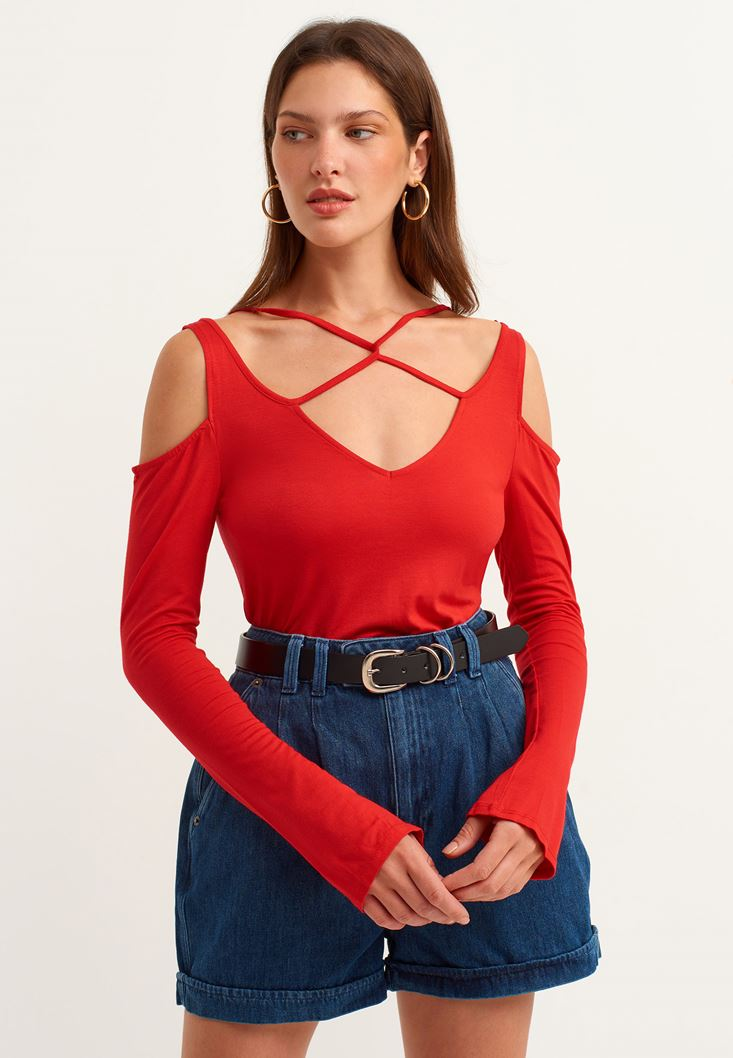 Red T-shirt with Binding Details
