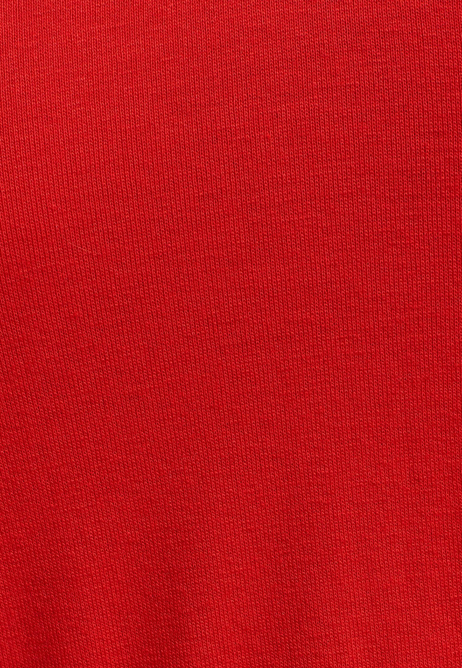 Bayan Kırmızı Yakası Çapraz Biye Detaylı T-shirt