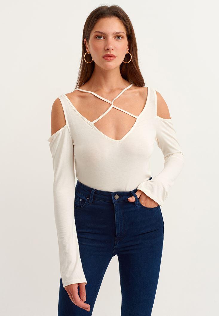 Cream T-shirt with Binding Details