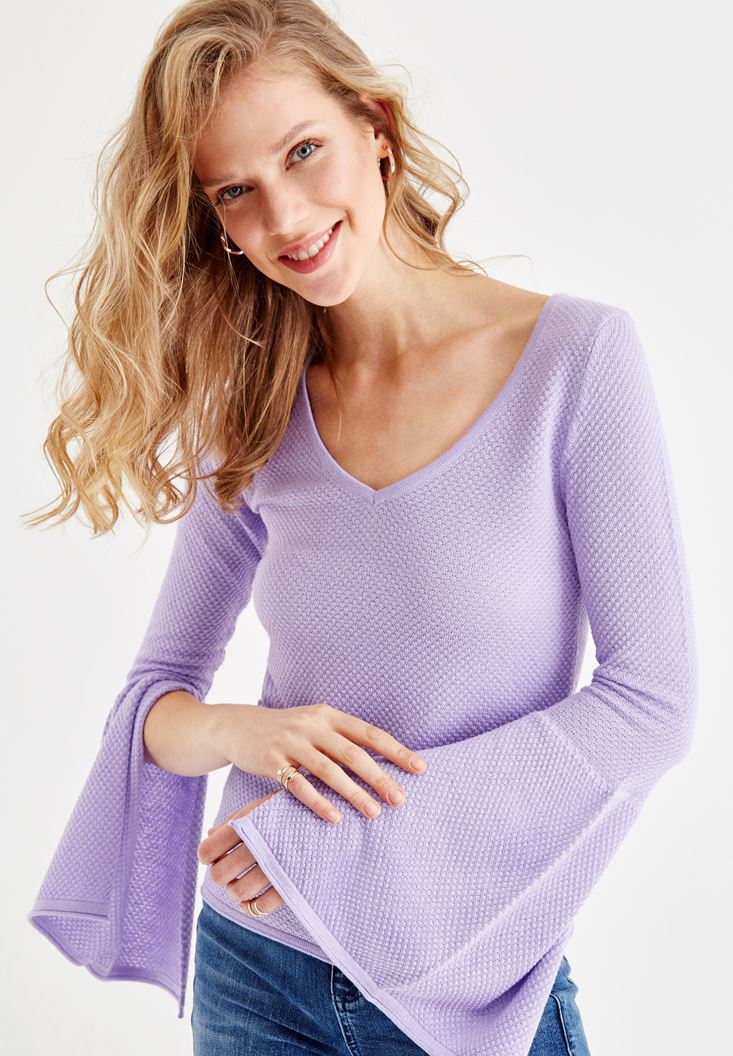 Purple Knitwear with Arm and Neck Details