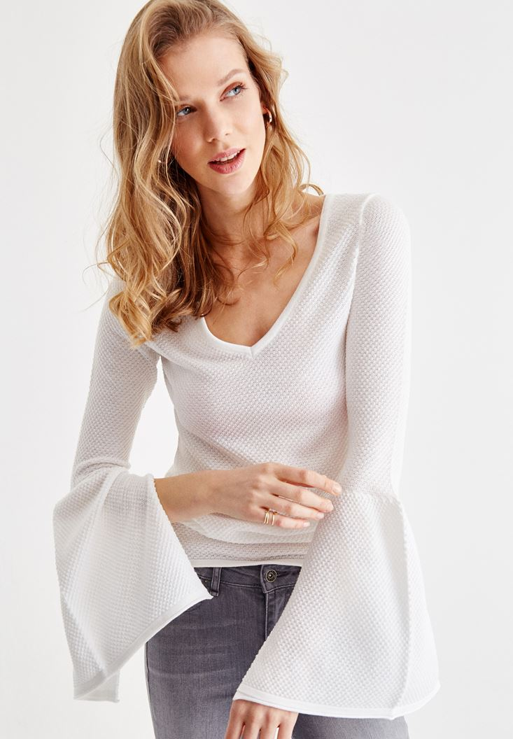 Grey Knitwear with Arm and Neck Details