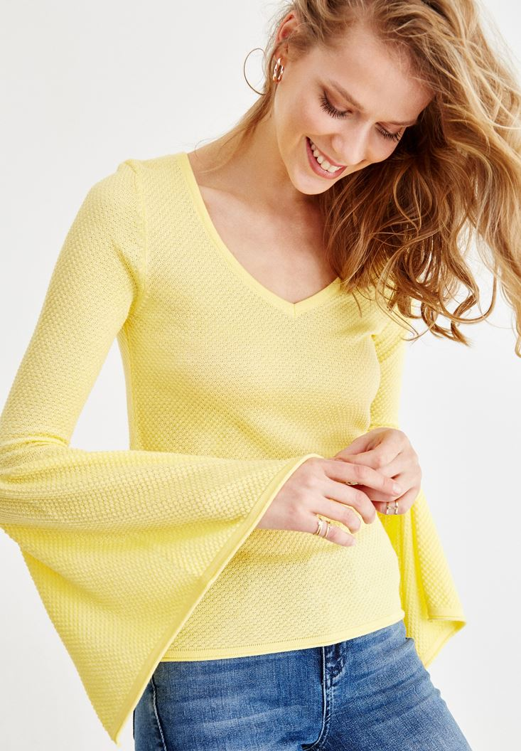 Yellow Knitwear with Arm and Neck Details