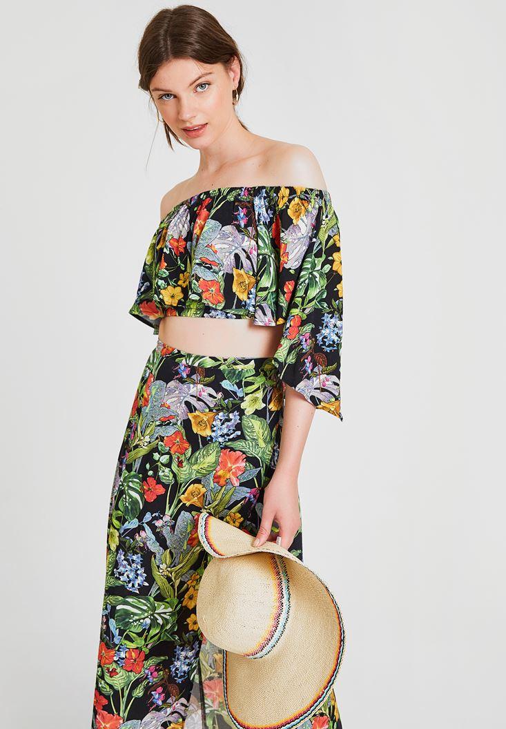 Çok Renkli Düşük Omuz Çiçek Desenli Bluz