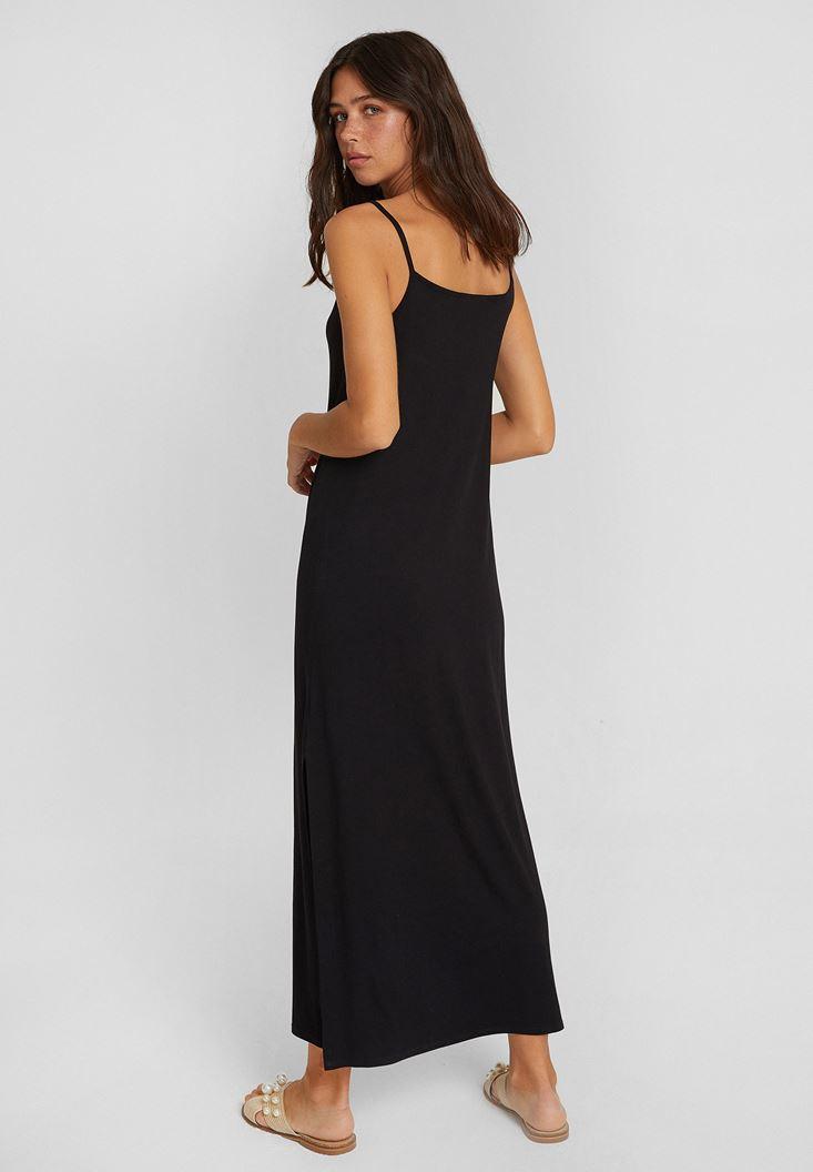 Bayan Siyah İnce Askılı Yırtmaç Detaylı Uzun Elbise