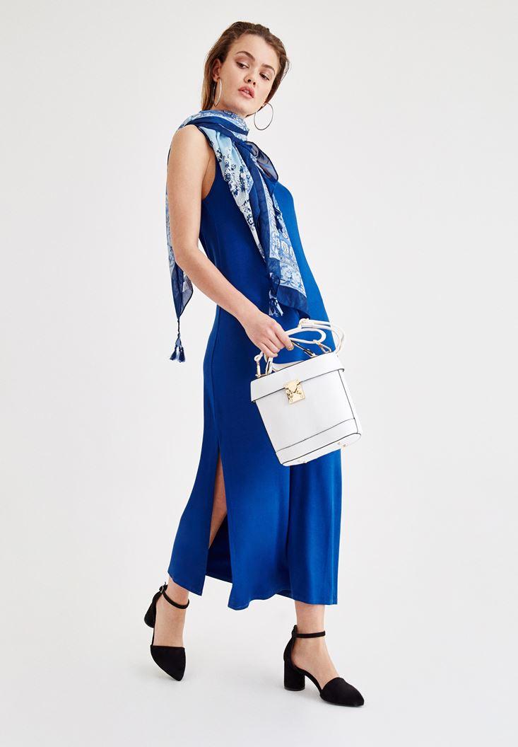 Mavi Uzun Elbise ve Şal Kombini