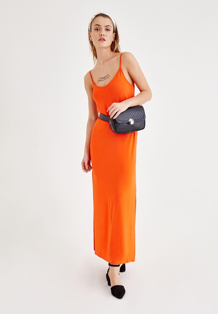 Turuncu İnce Askılı Elbise Kombini