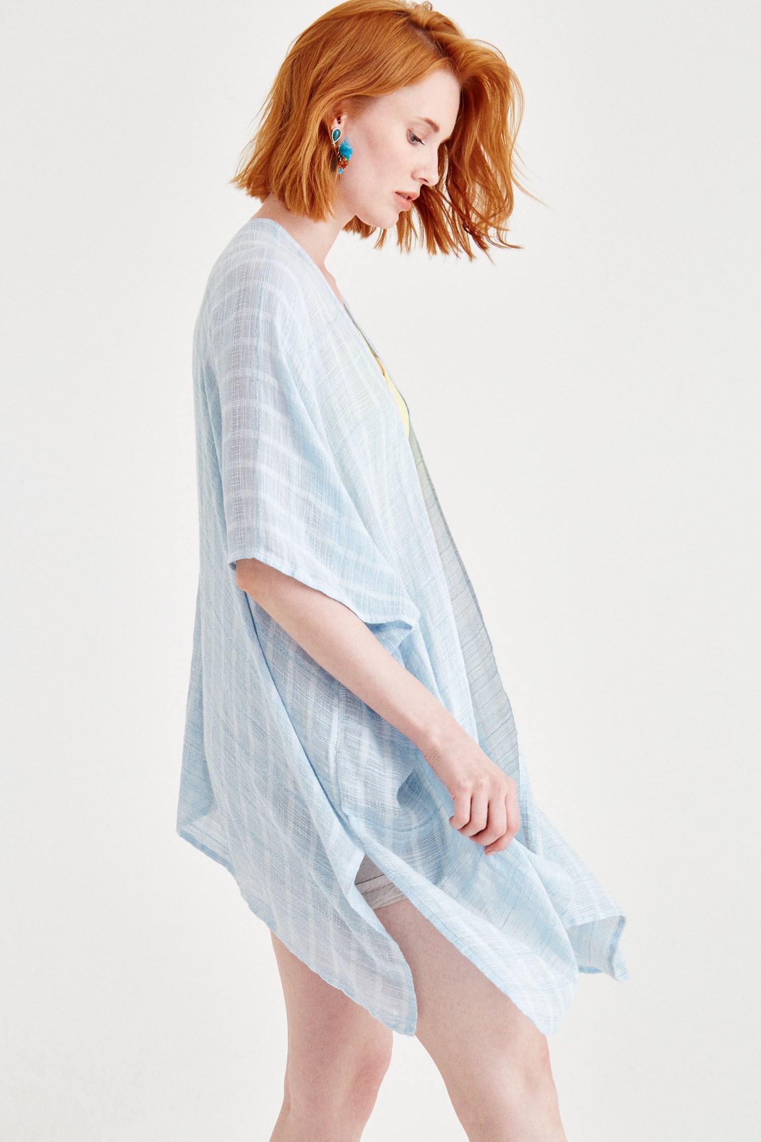 Bayan Mavi Yırtmaçlı Kimono