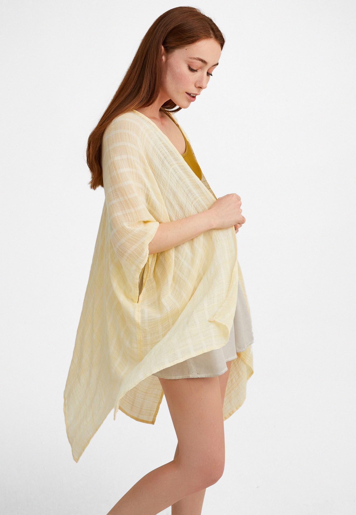 Bayan Sarı Yırtmaçlı Kimono