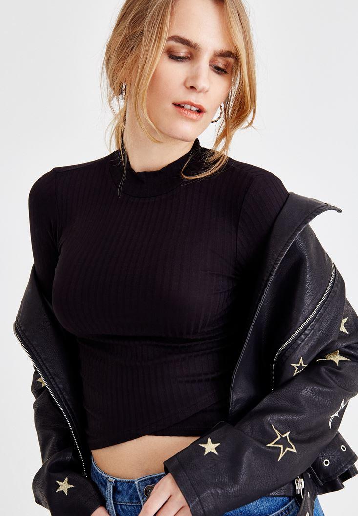 Black Long Sleeve Turtleneck T-Shirt