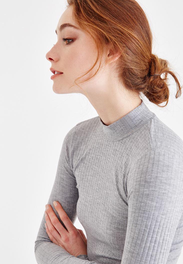 Bayan Gri Balıkçı Yaka Crop Uzun Kollu Tişört