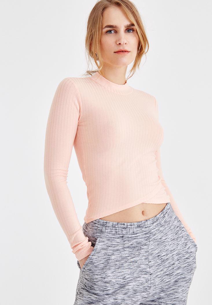 Bayan Turuncu Balıkçı Yaka Crop Uzun Kollu Tişört