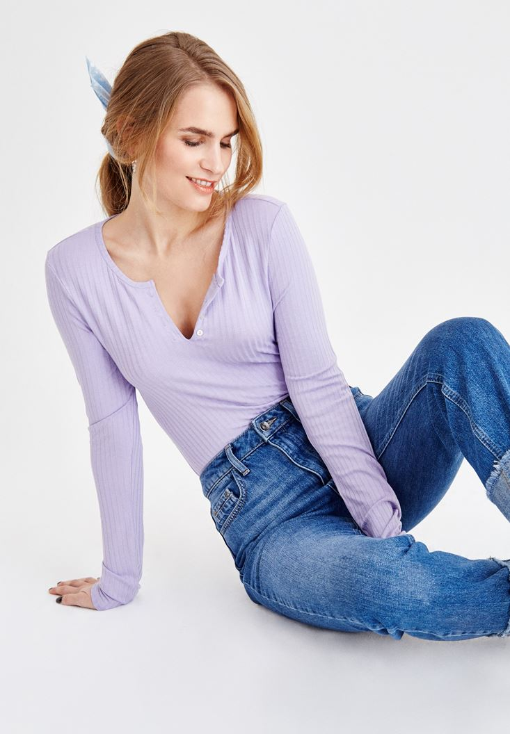 Purple V Neck T-Shirt with Details