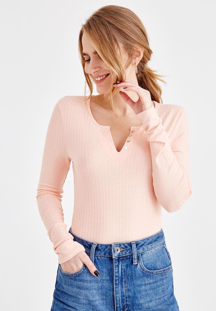 Bayan Turuncu V Yaka Önü Düğmeli Tişört
