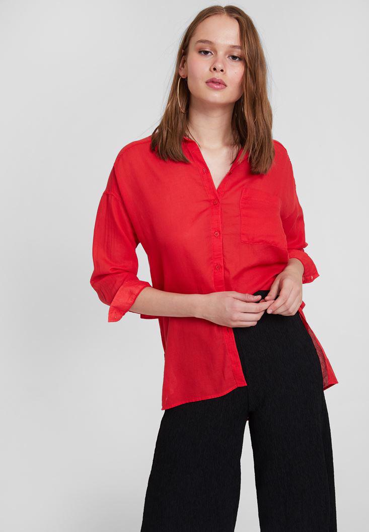 Women Red Cotton Shirt with Pocket Detailed