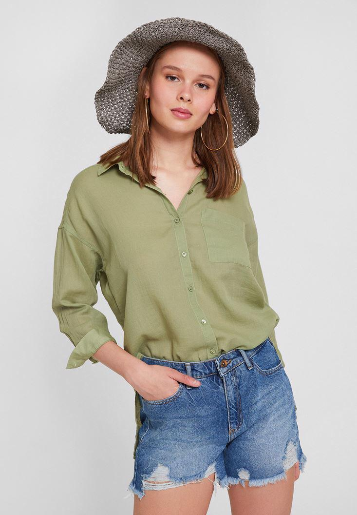 Bayan Yeşil Pamuk Cep Detaylı Gömlek