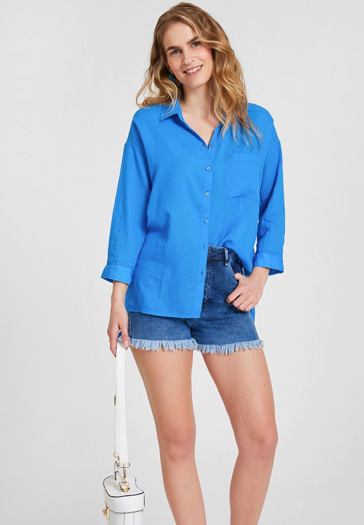 Blue Cotton Shirt with Pocket Detailed