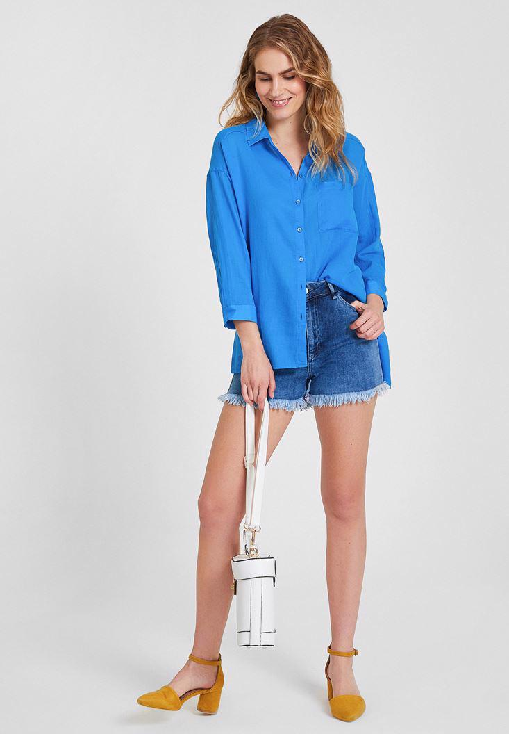 Women Blue Cotton Shirt with Pocket Detailed