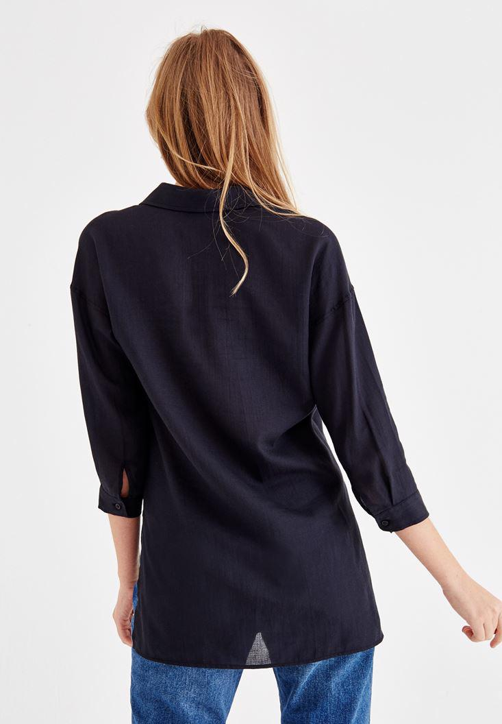 Women Navy Shirt with Pocket and Long Sleeve