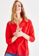 Women Red Shirt with Pocket and Long Sleeve