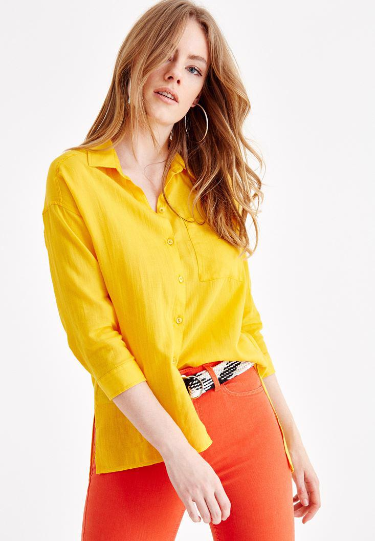 Women Yellow Shirt with Pocket and Long Sleeve