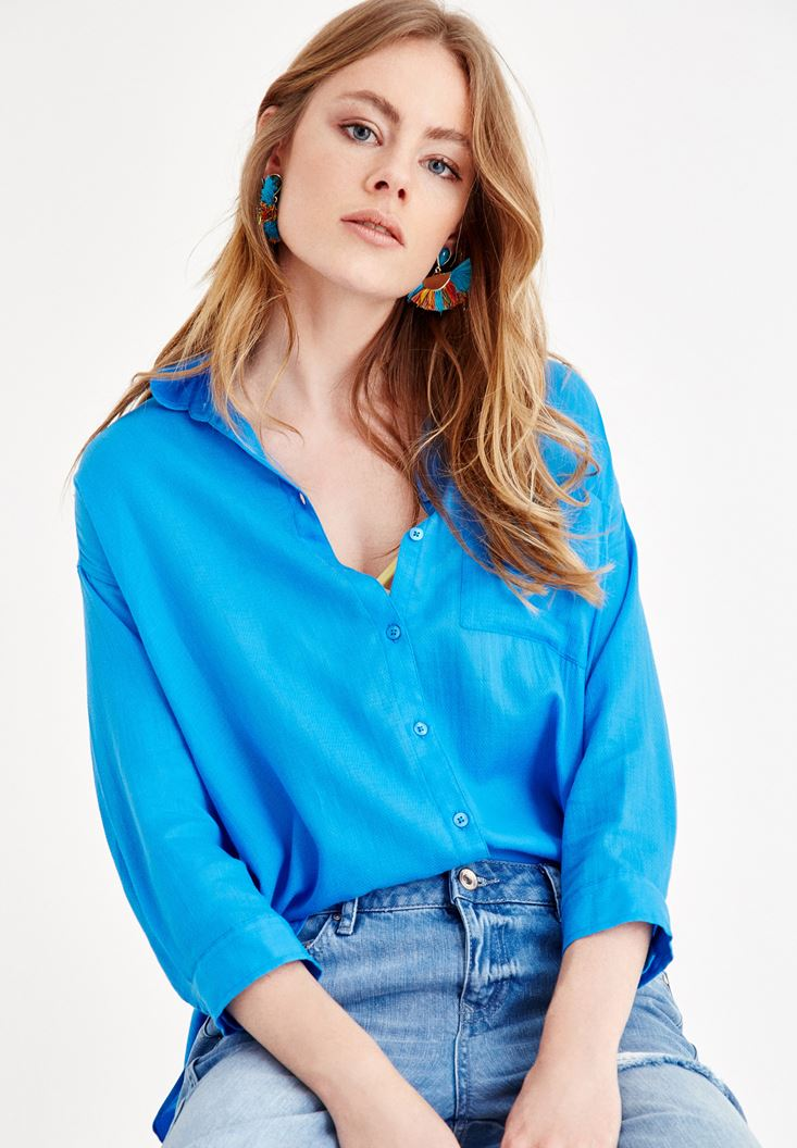 Blue Shirt with Pocket and Long Sleeve