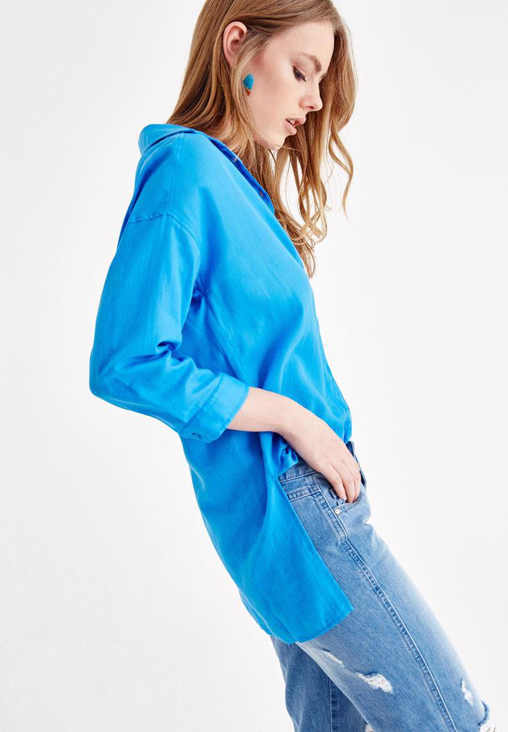 Women Blue Shirt with Pocket and Long Sleeve