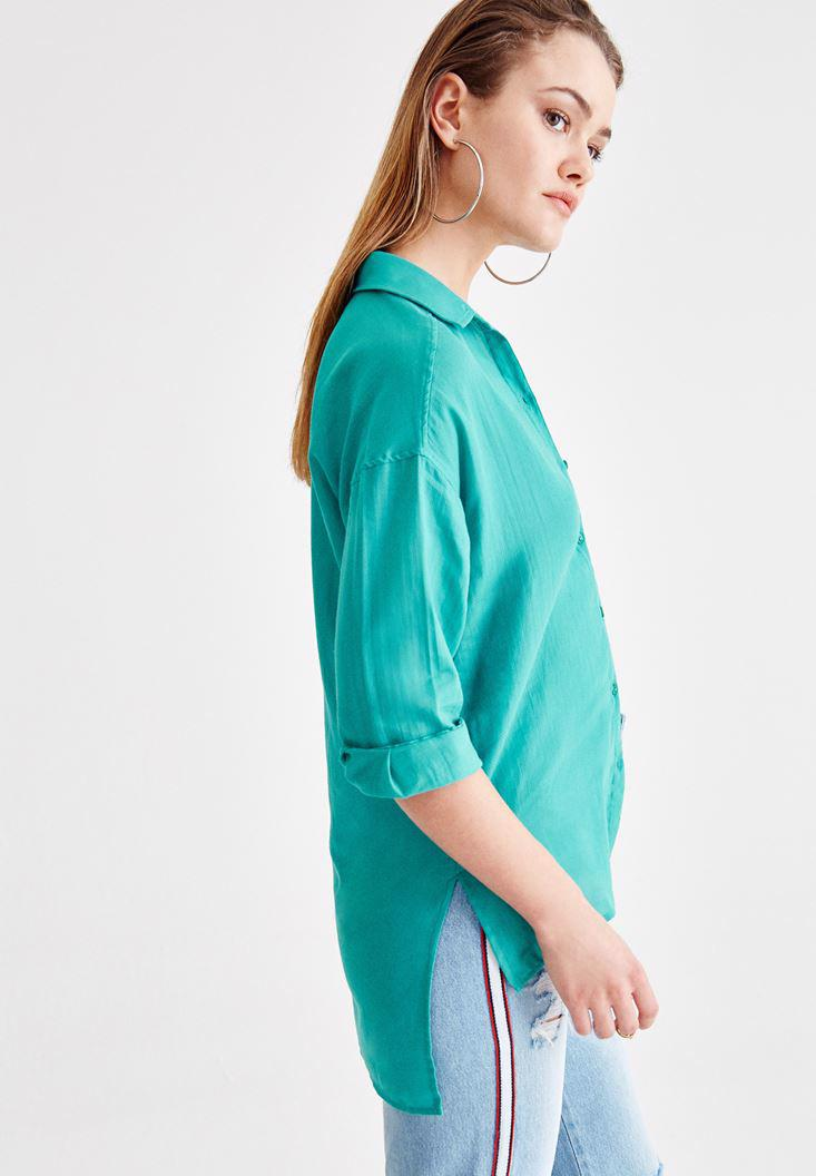 Women Green Shirt with Pocket and Long Sleeve
