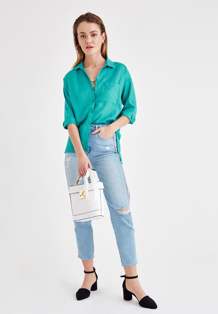 Yeşil Uzun Kollu Gömlek ve Jean Kombini