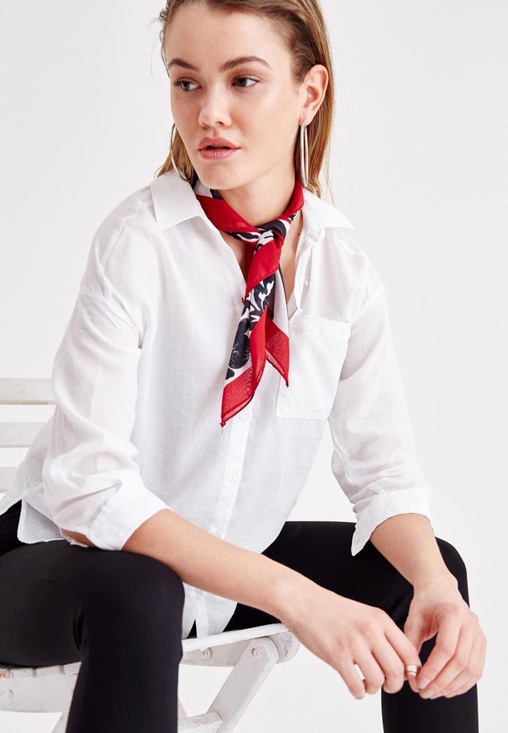 Bayan Beyaz Cepli Uzun Kollu Gömlek