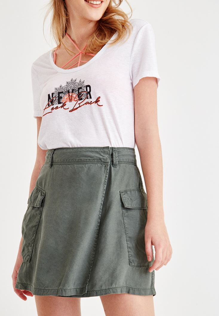 Green Skirt with Pocket Details