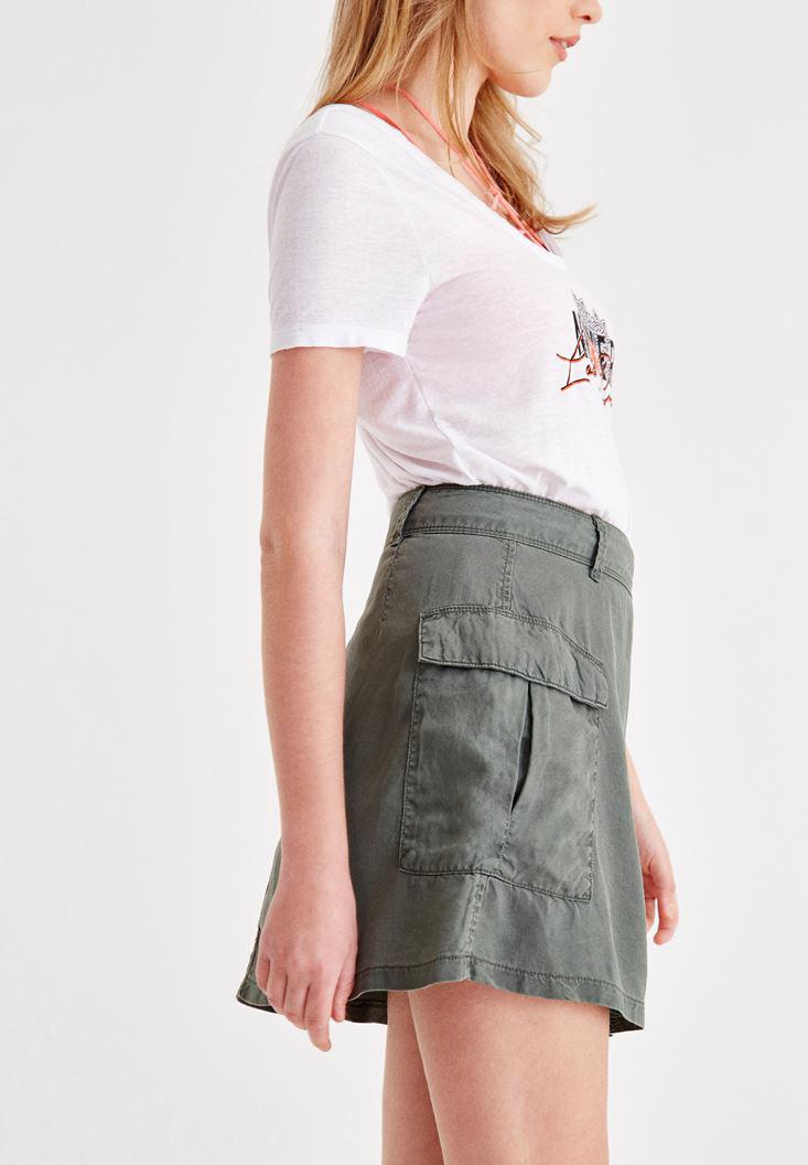 Women Green Skirt with Pocket Details