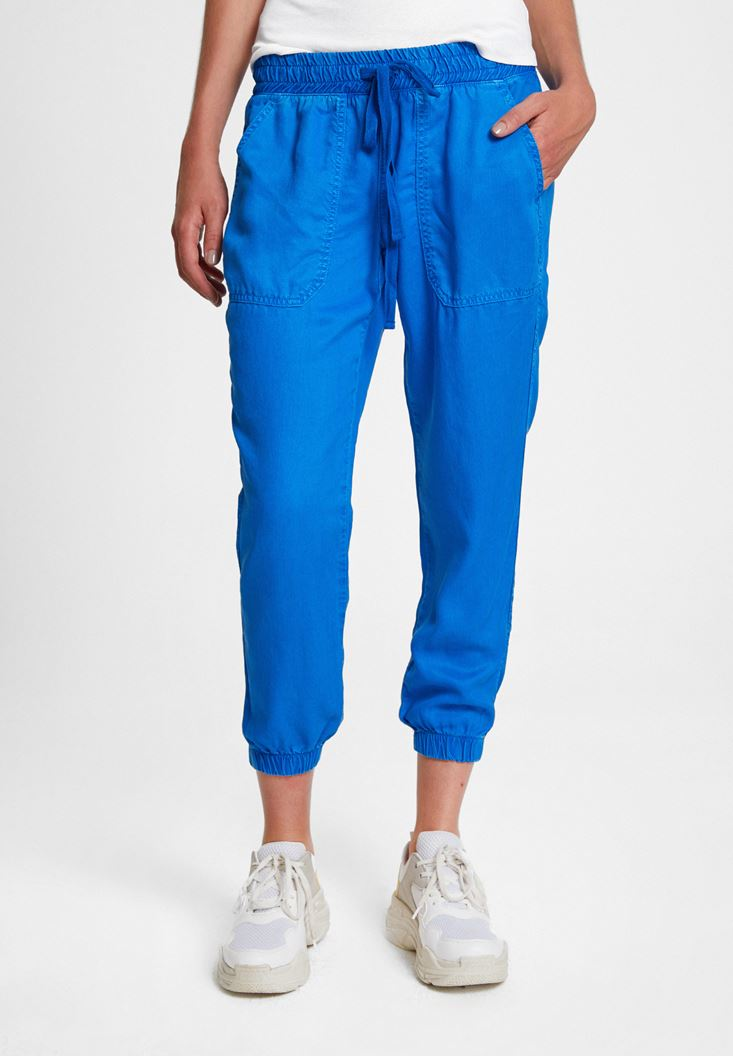 Mavi Beli Lastik Detaylı Jogger