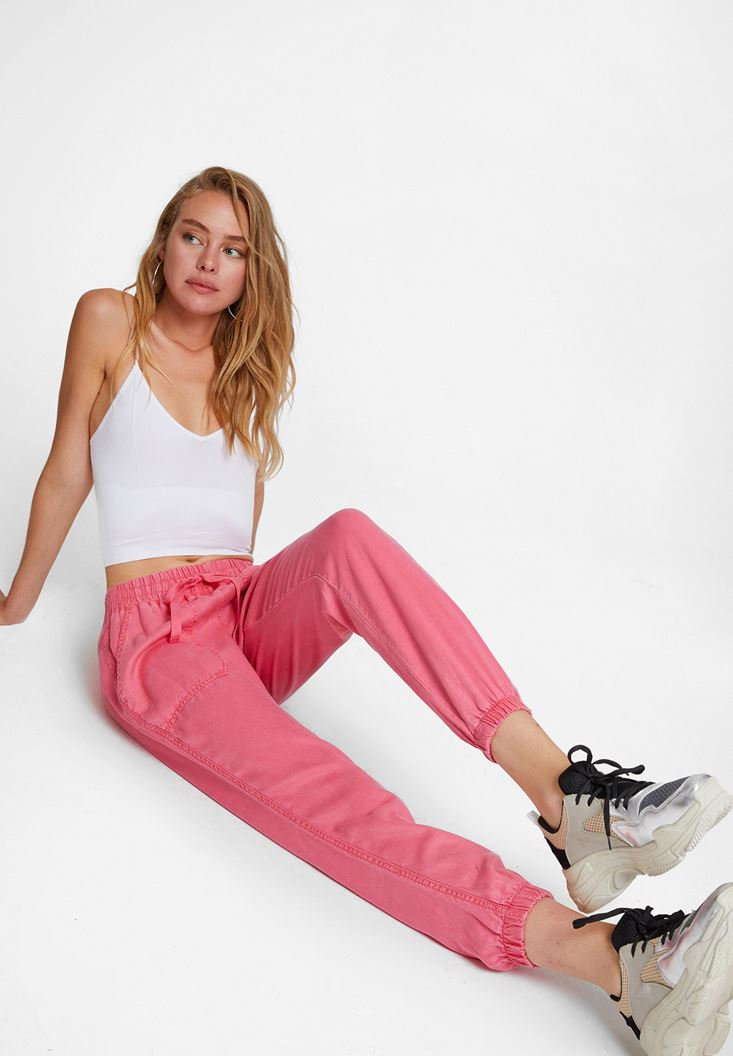 Pink Jogger Pants with Elasticated Waist