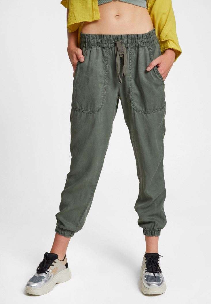 Green Jogger Pants with Elasticated Waist