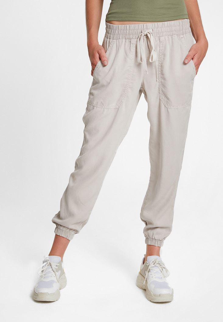 Grey Jogger Pants with Elasticated Waist