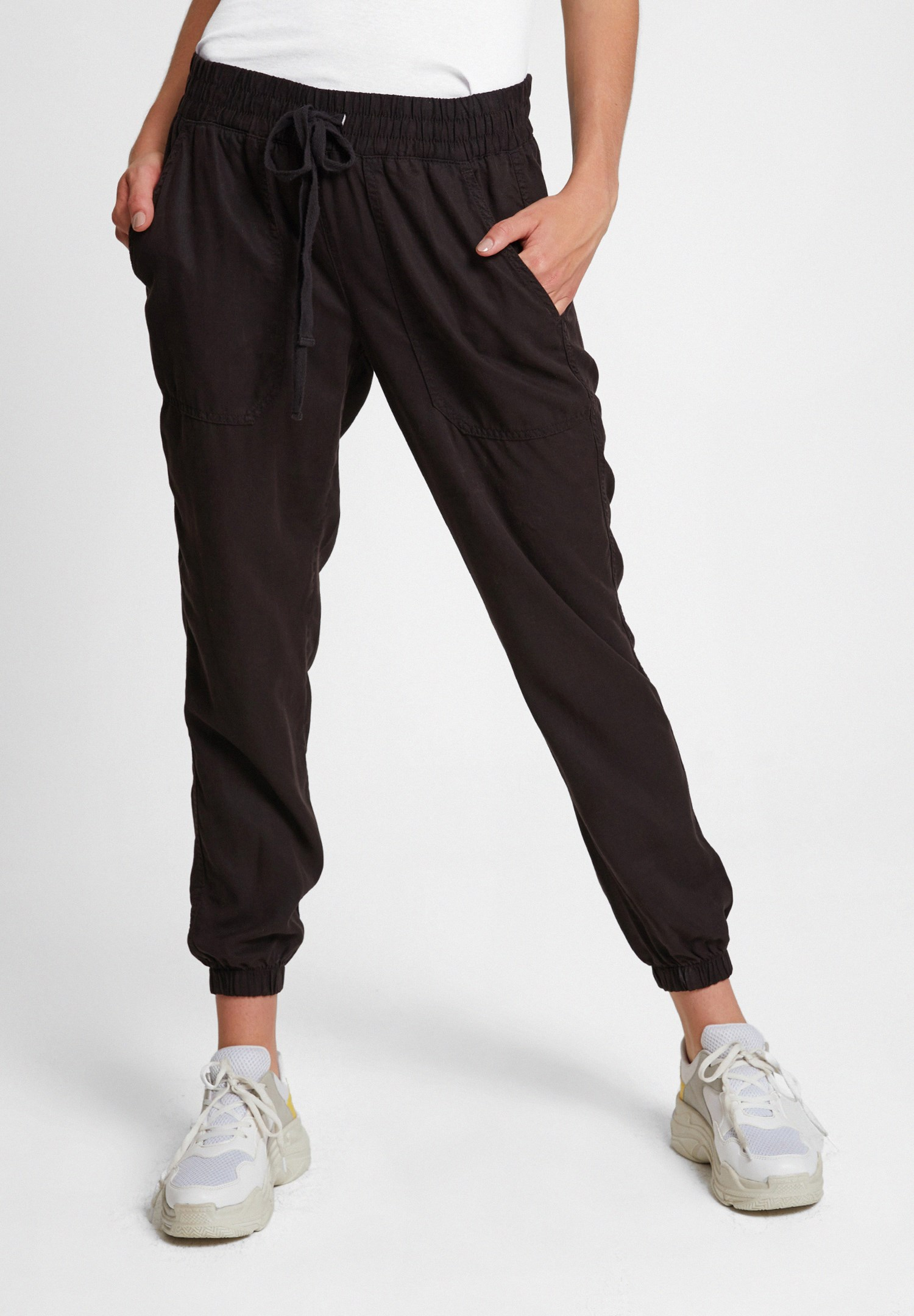 Women Black Jogger Pants with Elasticated Waist