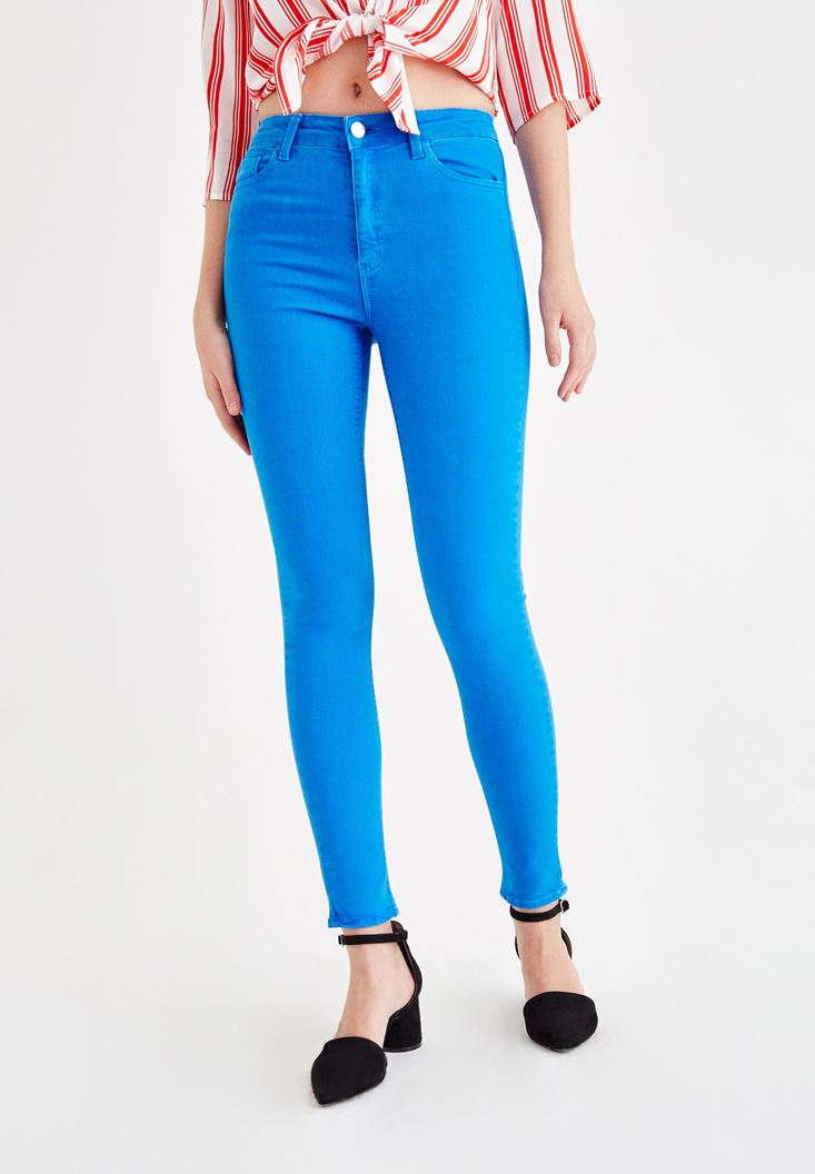 Blue High Rise Pants with Details