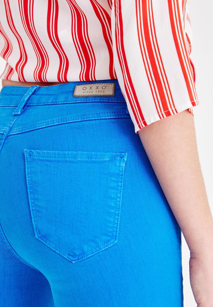 Women Blue High Rise Pants with Details