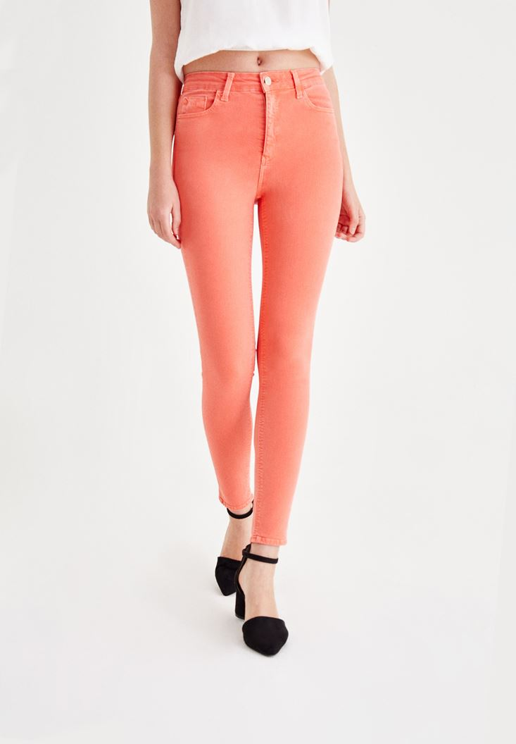 Orange High Rise Pants with Details