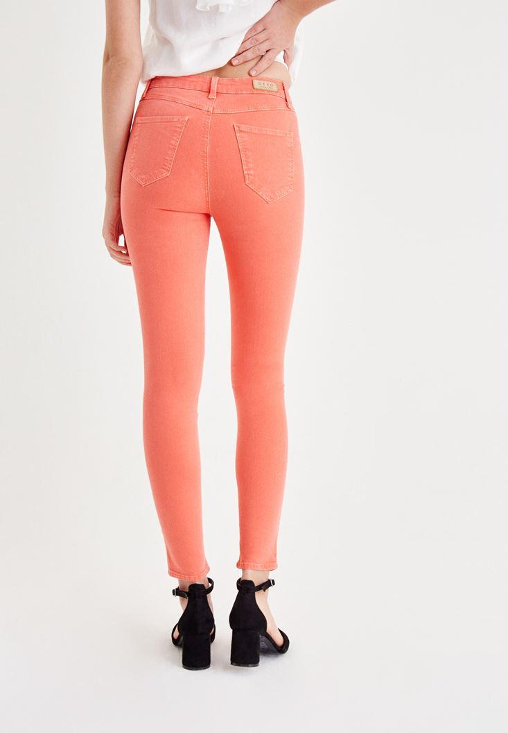Bayan Turuncu Dar Paça Detaylı Yüksek Bel Pantolon