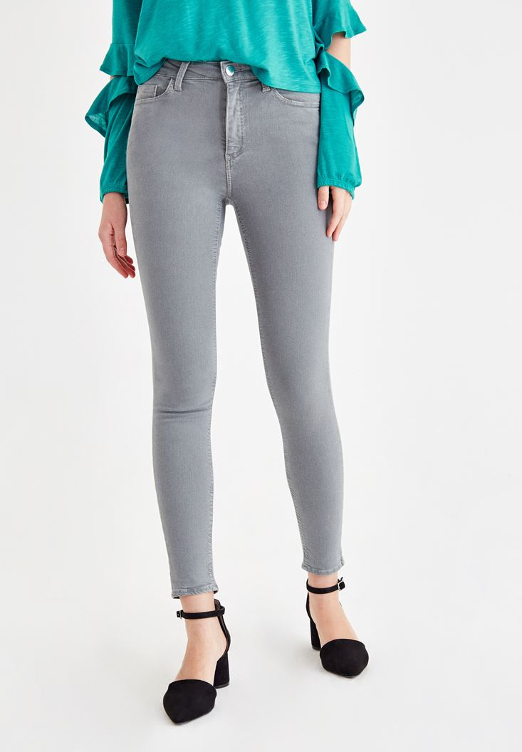 Grey High Rise Pants with Details