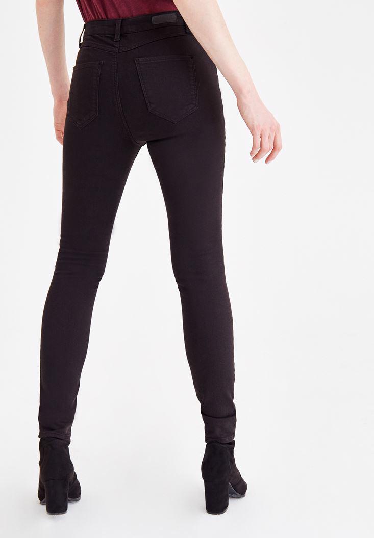 Bayan Siyah Dar Paça Detaylı Yüksek Bel Pantolon