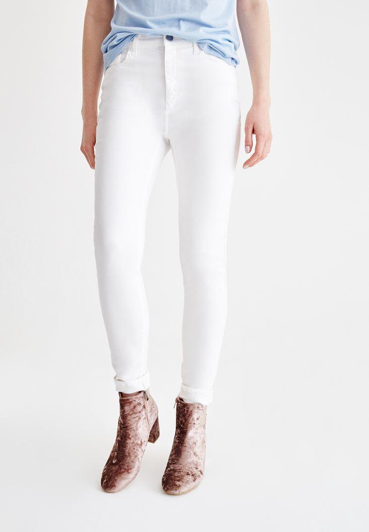 Krem Dar Paça Detaylı Yüksek Bel Pantolon