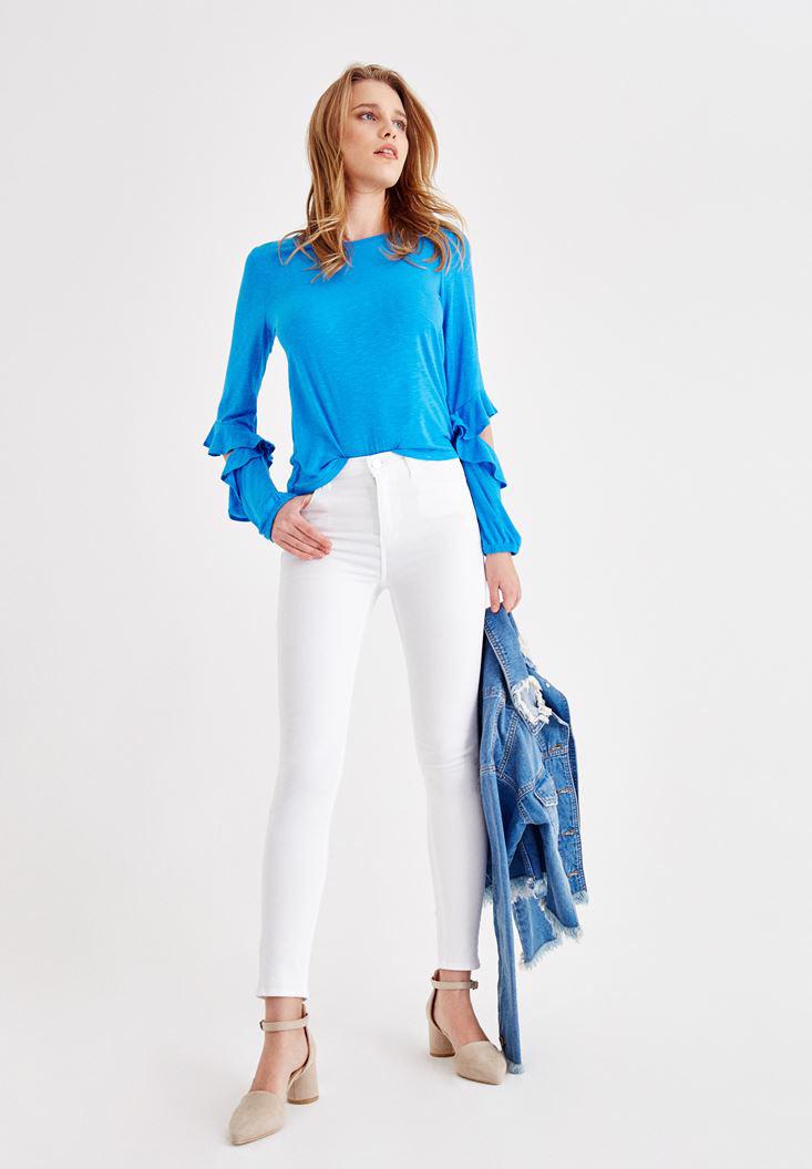 Women White High Rise Pants with Details